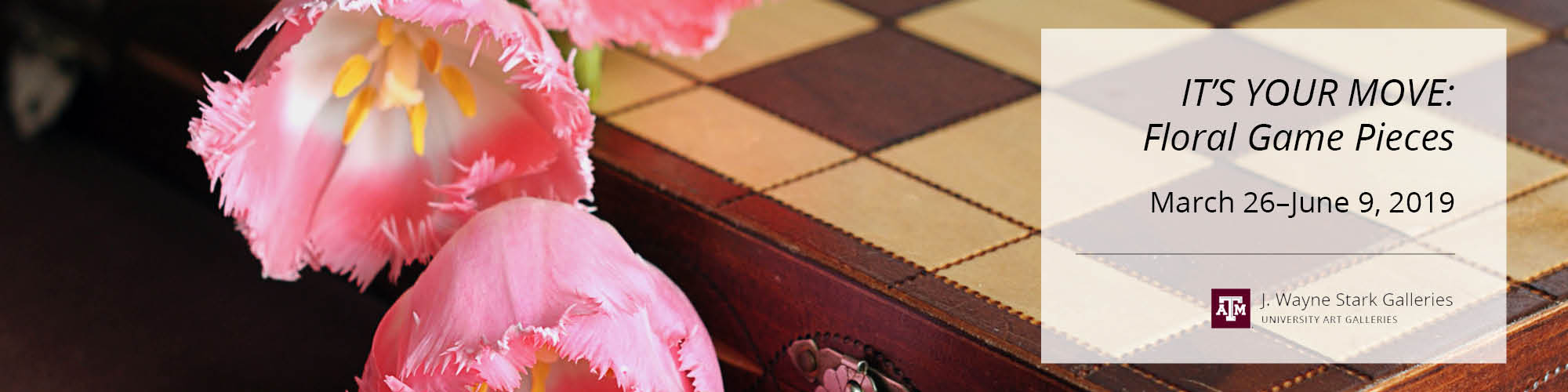 Pink flowers on a chess board