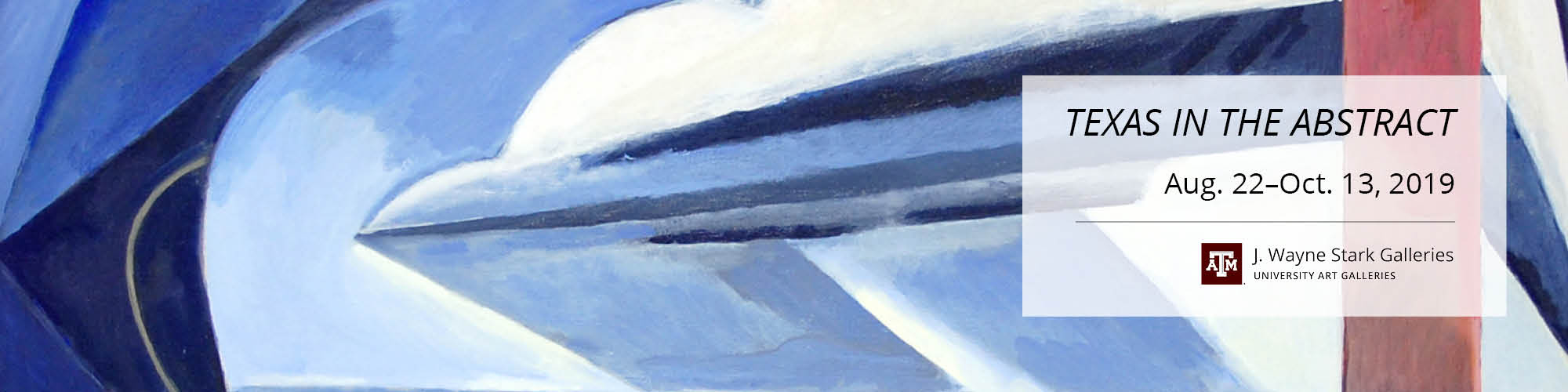 Predominantly blue, blue gray and white abstract figures, red column on right side of painting.